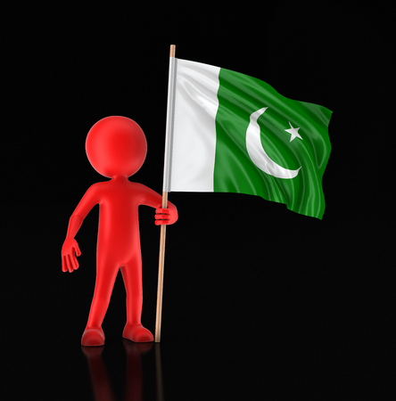 Man and Pakistan flag. Image with clipping path