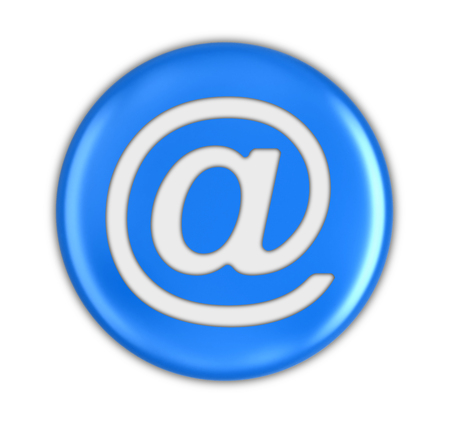 Button with E-mail sign. Image with clipping path