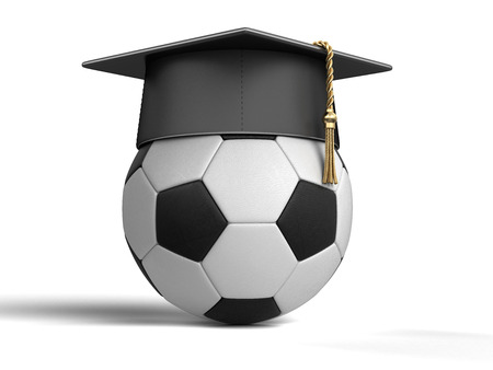 Graduation cap and Soccer Ball. Image with clipping path 免版税图像