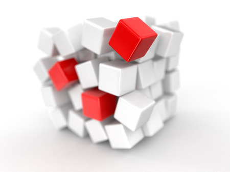 Cube falls apart. Image with clipping path Stock Photo