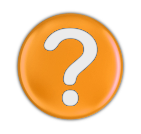 Button with Question Mark. Image with clipping path Banco de Imagens