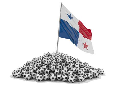 Pila de balones de fútbol y bandera de Panamá. Imagen con trazado de recorte