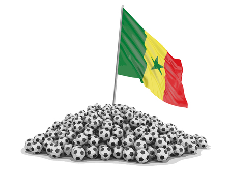 Pile of Soccer footballs and Senegal flag. Image with clipping path