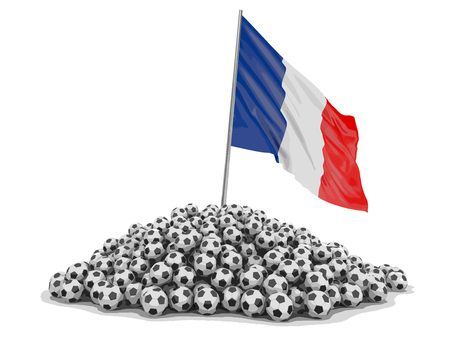 Pile of Soccer footballs and French flag. Image with clipping path Illustration