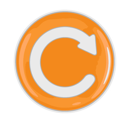 Refresh sign in a button. Image with clipping path.
