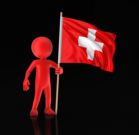 Man and Swiss flag. Image with clipping path