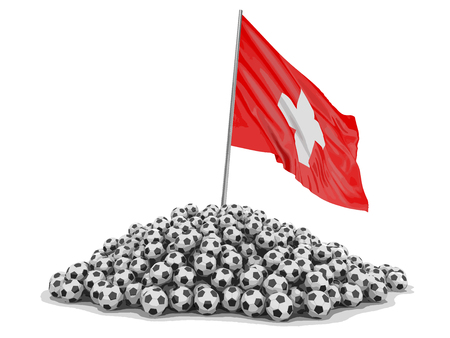 Soccer footballs with Swiss flag. Image with clipping path