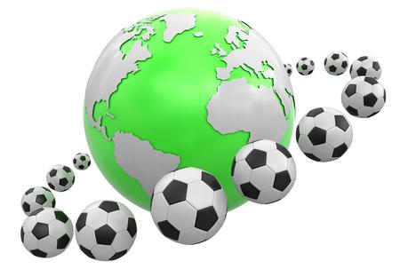Soccer footballs around Globe.