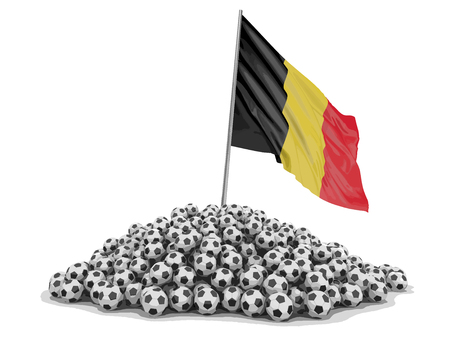 Soccer football with Belgian flag. Image with clipping path Illustration