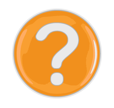 Button with Question Mark. Image with clipping path Ilustração