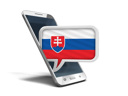 Touchscreen smartphone and Speech. Image with clipping path