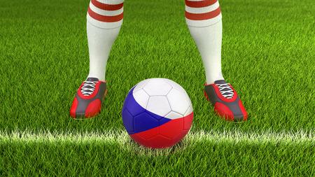 Mann und Fußball mit tschechischer Flagge Standard-Bild - 94484514