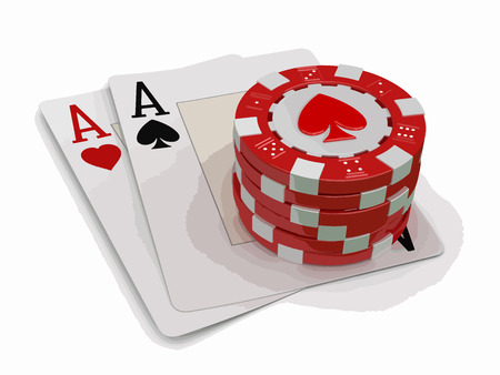 chips of casino and aces.