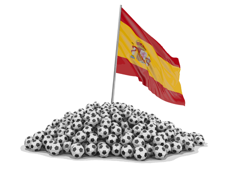 Soccer footballs with Spanish flag. Image with clipping path