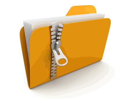 folder i listy z zamkiem błyskawicznym. Obraz ze ścieżką przycinającą