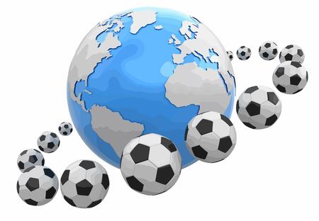 Soccer footballs around Globe. Image with clipping path Ilustração