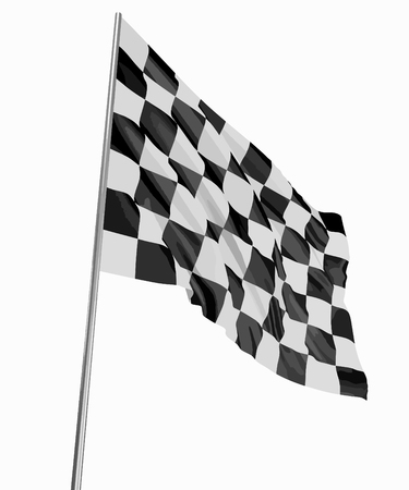 Large Checkered Flag with fabric surface texture. White background. Illustration