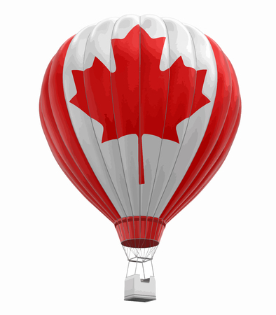 Hot Air Balloon with Canadian Flag. Image with clipping path Illustration
