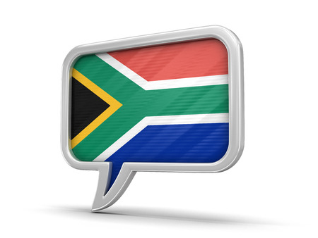 Speech bubble with South African republic flag. Image with clipping path