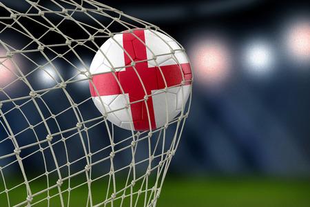 ネットで英語のサッカーボール 写真素材