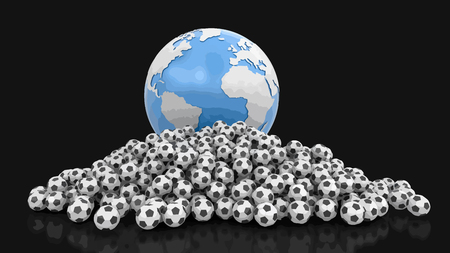 Pile of Soccer footballs and Globe. Image with clipping path