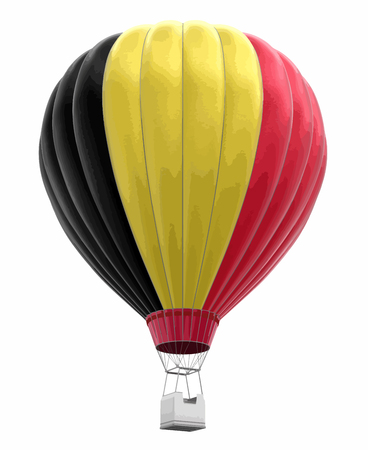 Hot Air Balloon with Belgian Flag. Image with clipping path