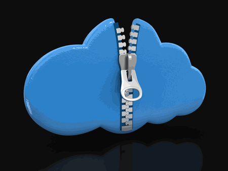 cloud with zipper Image with clipping path