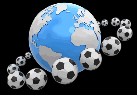 Soccer footballs around globe. Image with clipping path illustration.