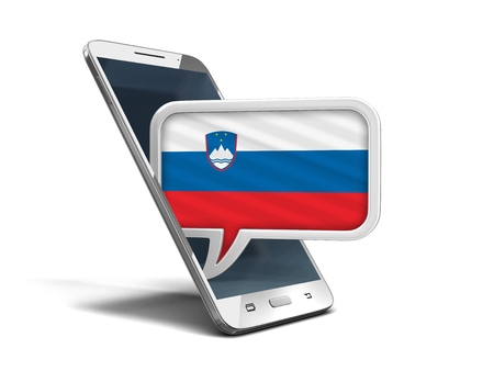 Touchscreen smartphone and Speech bubble with Slovenian flag. Image with clipping path