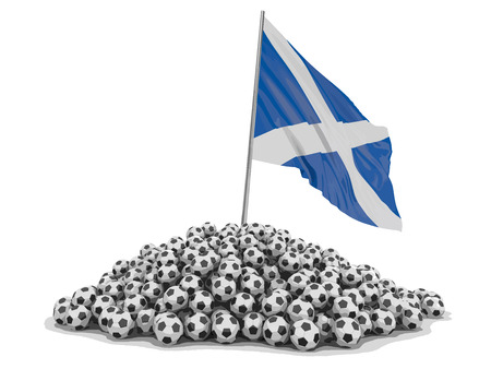 Soccer footballs with Scottish flag. Image with clipping path