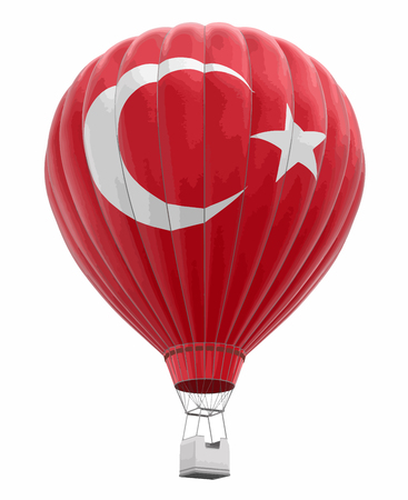 Hot Air Balloon with Turkish Flag. Image with clipping path