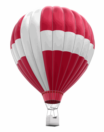 Hot Air Balloon with Danish Flag. Image with clipping path