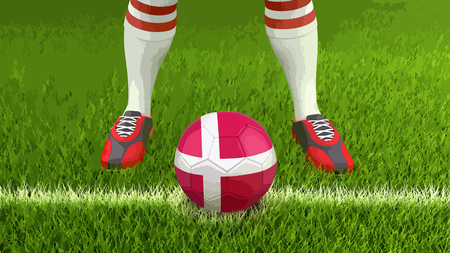 Man and soccer ball with Danish flag Illustration