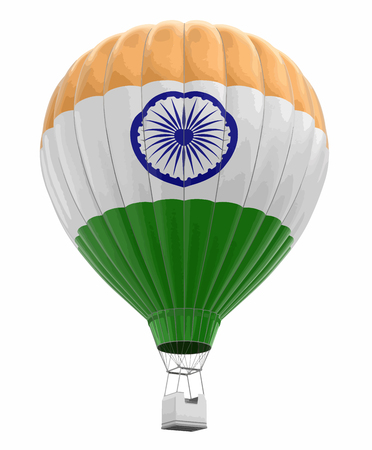 Hot air balloon with Indian flag. Image with clipping path.