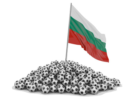 Pile of Soccer footballs and Bulgarian flag. Image with clipping path