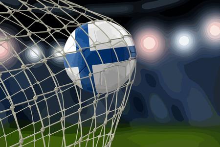 Finnish soccerball in net, illustration realistic design