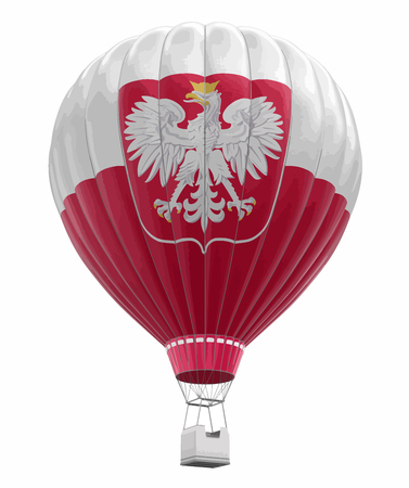 Hot Air Balloon with Polish Flag. Image with clipping path Ilustração