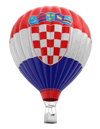 Hot Air Balloon with Croatian Flag. Image with clipping path