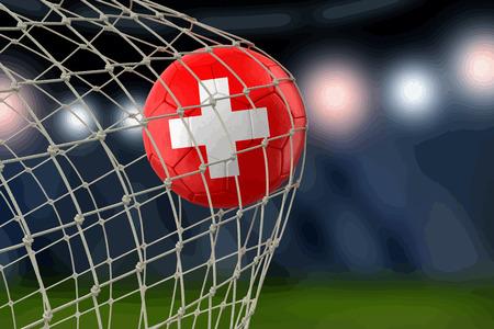 Soccerball suisse dans le filet illustration design réaliste Banque d'images - 96003881
