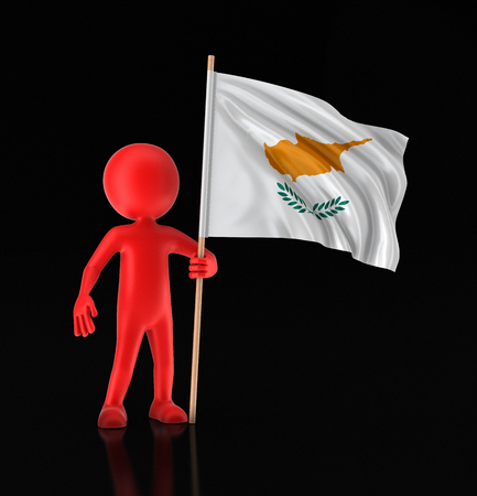 Man and Cyprus flag. Image with clipping path Stok Fotoğraf