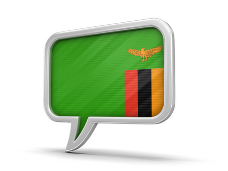 Speech bubble with Zambia flag. Image with clipping path