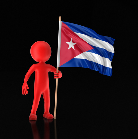 Man and Cuban flag. Image with clipping path 写真素材