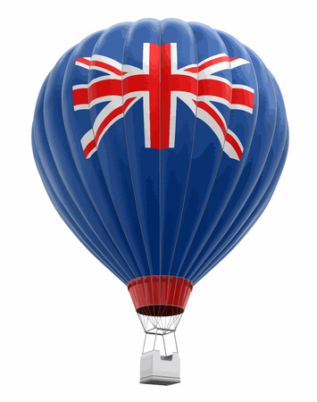 Hot air balloon with British flag. Image with clipping path.