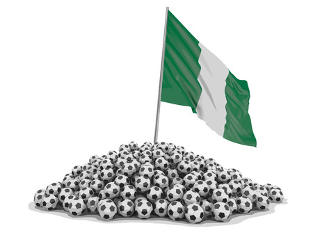 Soccer football with Nigerian flag. Image with clipping path.