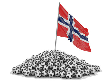 Soccer football with Norwegian flag. Image with clipping path.