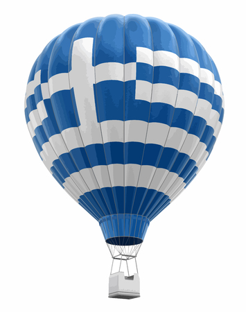 Hot air balloon with Greek flag. Image with clipping path.