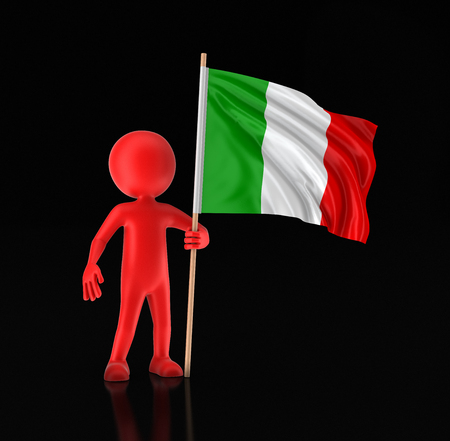 Man and Italian flag. Image with clipping path