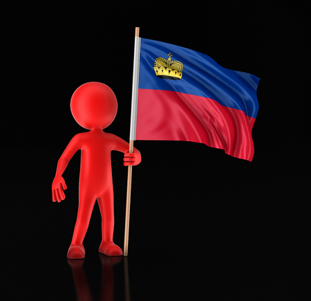 Man and Liechtenstein flag. Image with clipping path 스톡 콘텐츠
