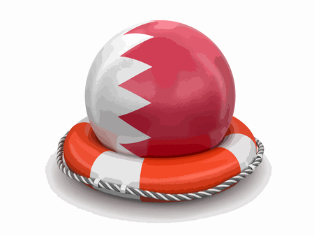 Ball with Bahrain flag on lifebuoy Image with clipping path