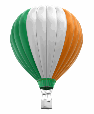 Hot Air Balloon with Irish Flag Image with clipping path